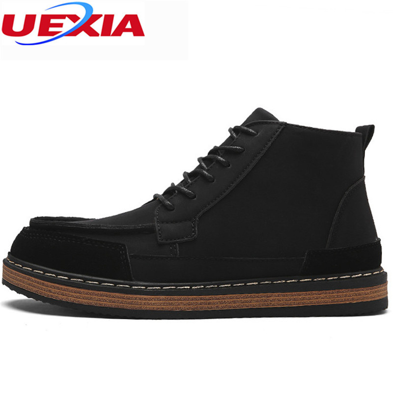 UEXIA Men Shoes Ankle Boots Man Fashion Black Boots Classic Popular High Top Casual Casual Working Martin Flats Male Work Shoes male casual shoes soft footwear classic men working shoes flats good quality outdoor walking shoes aa20135