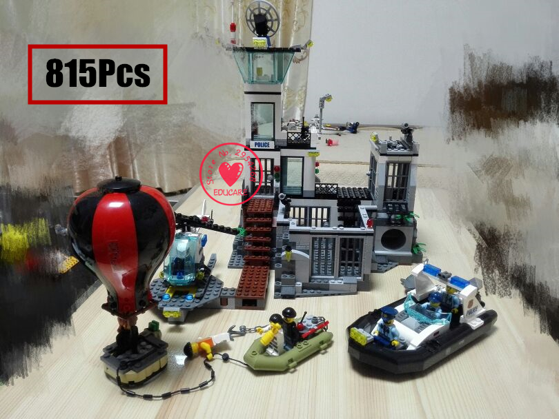 02006 815Pcs City Series Prison island set Children Educational model Building kit Blocks Bricks Boy kid Toys With 60130  lis lepin 02006 815pcs city series prison island set children educational building blocks bricks boy toys with 60130