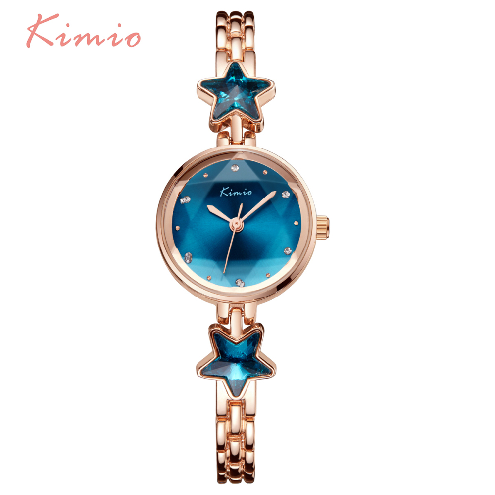 KIMIO Lucky Star Blue Crystal Clock Women Watches 2017 Montre Femme Bracelet Metal Luxury Brand Wrist