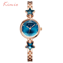 KIMIO Lucky Star Blue Crystal Clock Women Watches 2017 Montre Femme Bracelet Metal Luxury Brand Wrist Watches For Women Dress