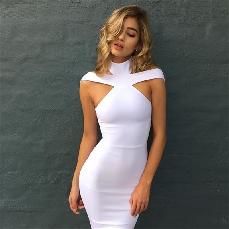 2018 New Strap Women Turtleneck Dress Fashion Sexy Attractive Cute Elegant Midi Bandage Dresses Black White Red in Dresses from Women 39 s Clothing