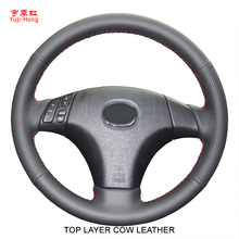 Yuji-Hong Top Layer Genuine Cow Leather Car Steering Covers Case for MAZDA 3/5/6 2006 Hand-stitched Cover Car-styling Black