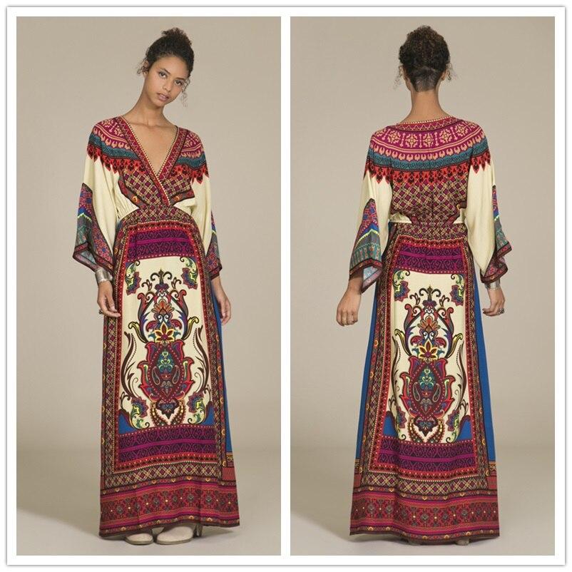 Vestido maxi del verano ropa vestido bordado mexicano boho