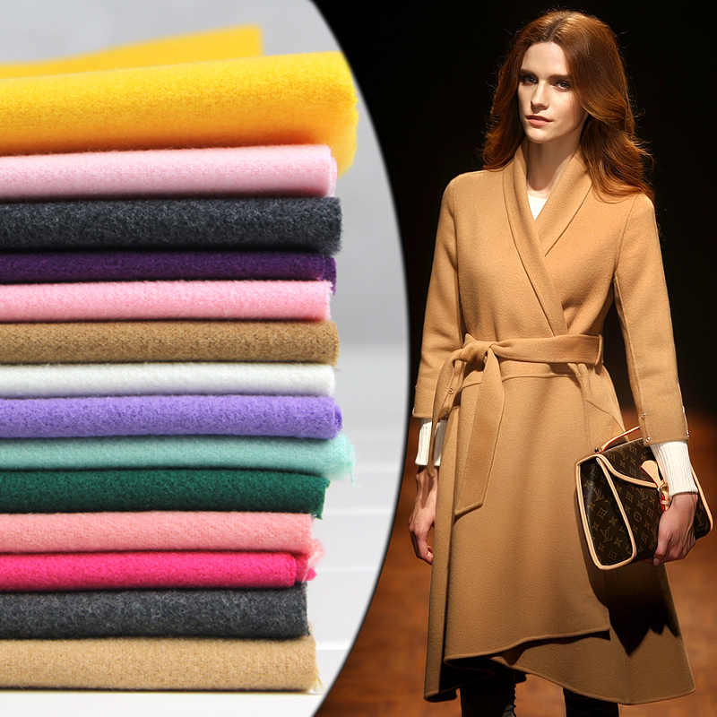Cashmere coat fabric 1.5*0.5M thick winter Imitation wool cloth double-sided Fashion solid color sewing for women dress skirt