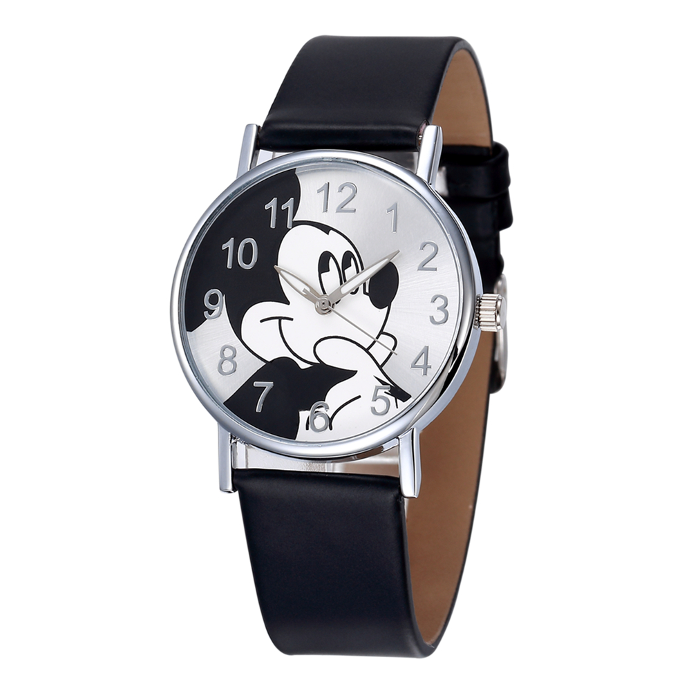 Watch Women New Fashion Cartoon Cute Mickey Mouse Clock Leather Strap Quartz Wristwatch Saats reloj mujer women quartz watch with cartoon ribbon