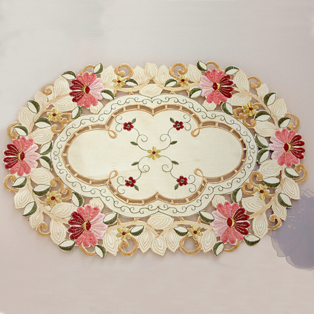 Yazi Vintage Embroidered Flower Daisy Lace Oval Doily Fabric Table Placemat 50x33cm Wedding Banquet Party Home Decor In Mats Pads From Garden On