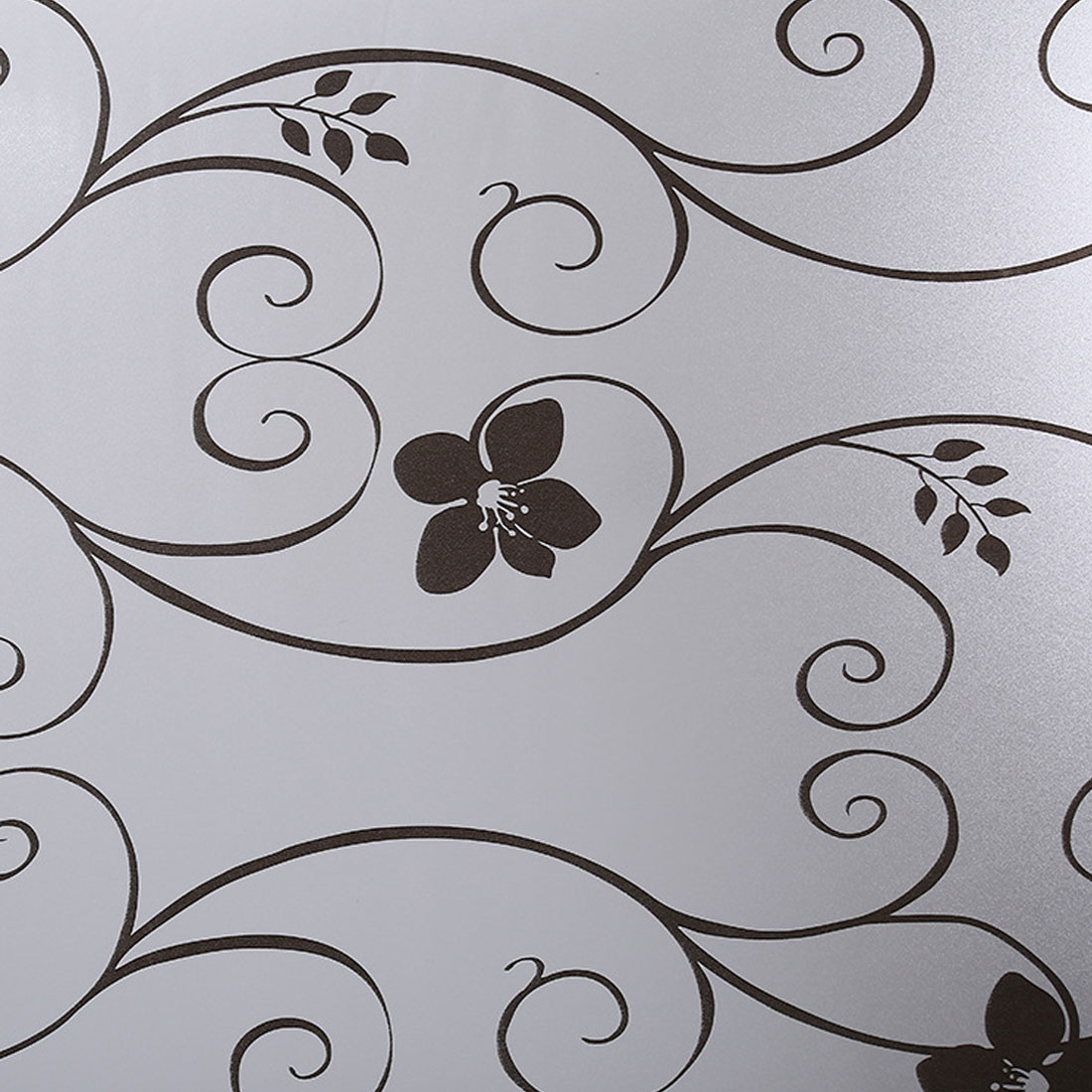 45x100cm Home Decorating Frosted Opaque Glass Window Film Privacy Glass Stickers Black&white Wrought Iron Flower