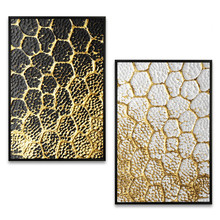 Black gold art High-end painting modern white craft decorative Golden porch building mural Hanging