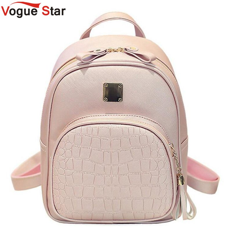 Vogue Star Women Backpack Leather School Bags For Teenager Girls Stone Sequined Female Preppy Style Small Backpack LB894