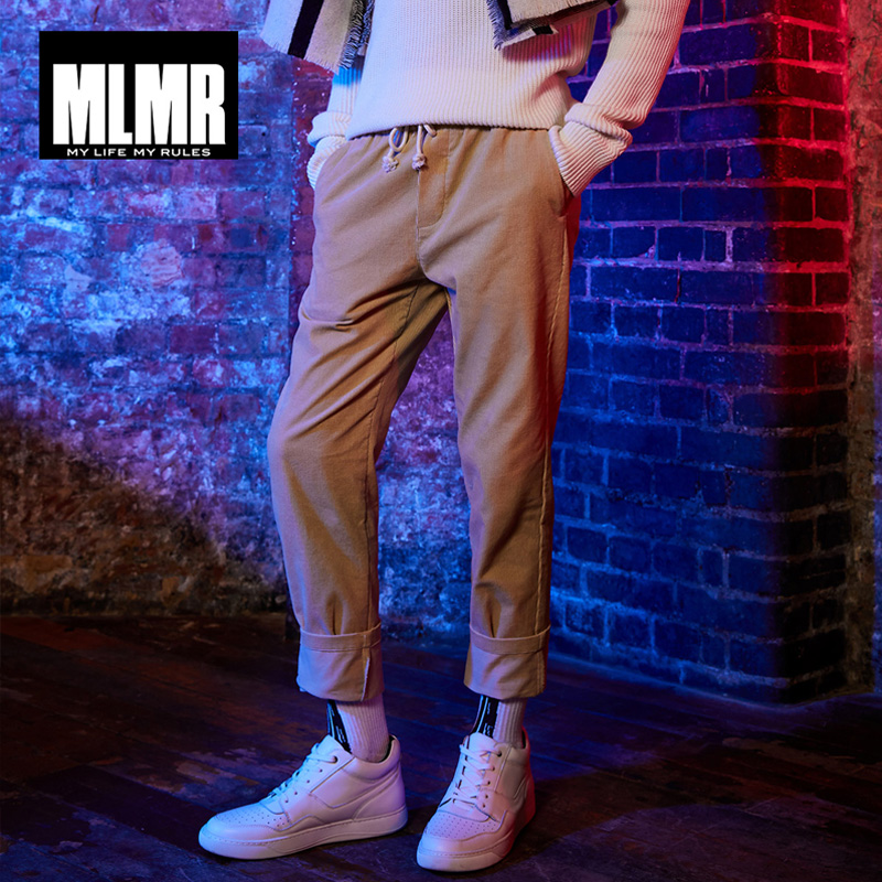 MLMR Spring Summer New Men Pants Elasticized Waistband With Drawstring Corduroy Pants Men Trousers Streetwear |218314546