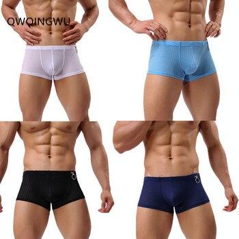27cd6c4a6c 4 unids lote hombres Boxers ropa interior Nylon agujero transpirable Boxer  marca moda cómoda Sexy Cueca bragas sólido hombre calzoncillos