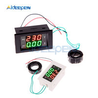100A AC Digital Ammeter Voltmeter Amp Volt Meter Voltage Current Meter LCD Panel Red Green Display with AC Current Transformer|Current Meters| |  -