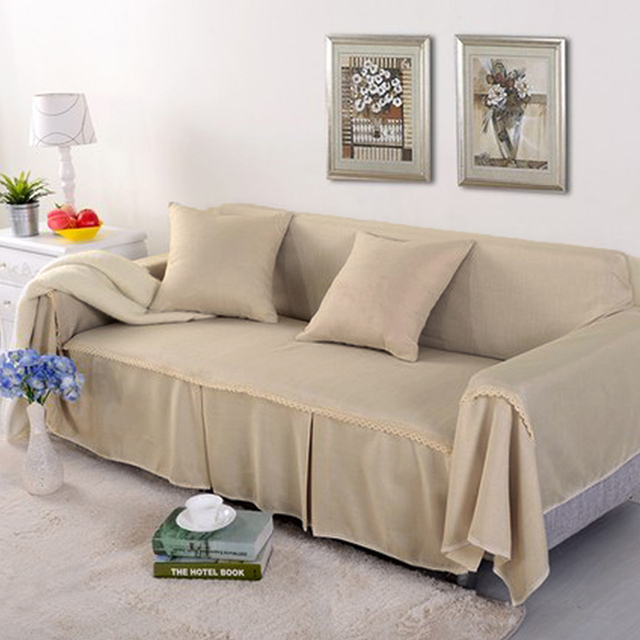 Yazi Solid Color Beige 1 2 3 4 Seater Sofa Cover Double Seat Slipcover  Polyester Cloth