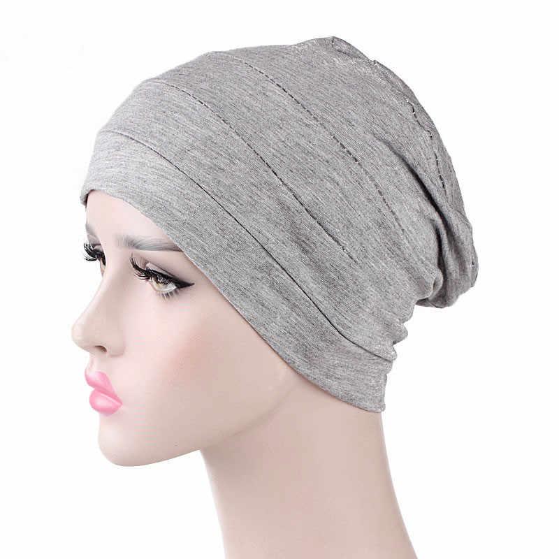 e4f9da400b861 ... Womens Soft Comfy Chemo Cap and Sleep Turban Hat Liner for Cancer Hair  Loss Cotton Headwear