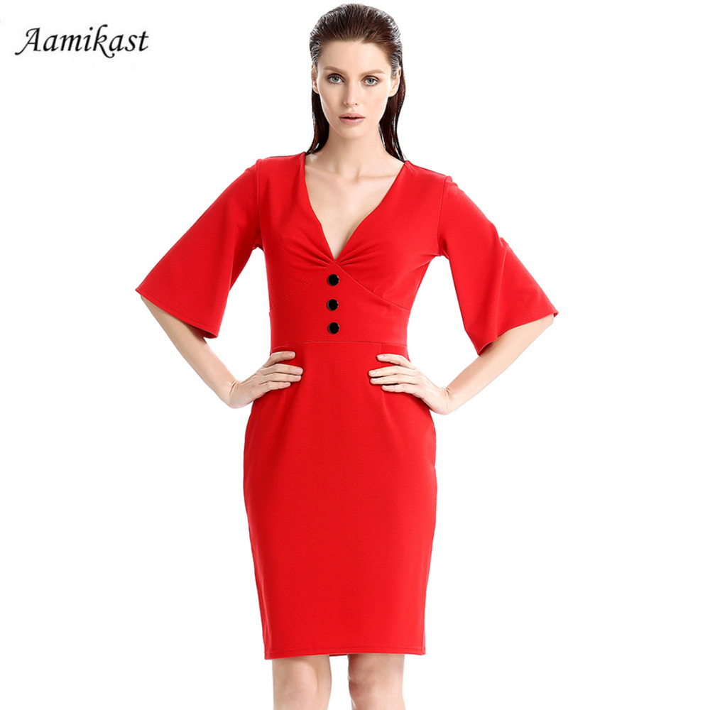 Aamikast Women Dresses New Fashion 2018 Elegant V neck Loose Sleeve Button  Sexy Vintage Party Evening Women Dresses-in Dresses from Women s Clothing  on ... d03a70a78472