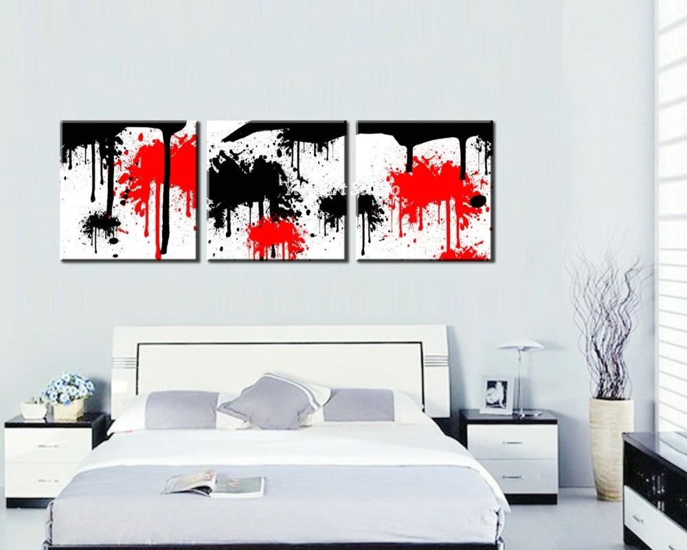 Blanco rojo negro dibujo foto cuadros decorativos 3 panel - Decoracion blanco negro rojo ...
