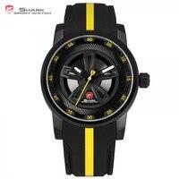Thresher SHARK Sport Watch Brand Racing Layer Yellow 3D Wheel Design Dial Crown Quartz Silicone Strap