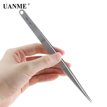 UANME AT-18K 7″ 18cm Long Tweezers Stainless Steel Electronic Pointed Tip Straight Tweezer Forceps