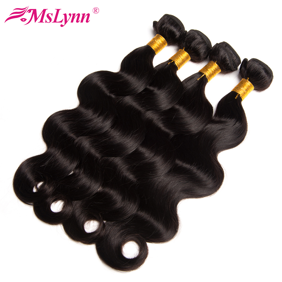 Mslynn Hair Peruvian Body Wave Bundles Human Hair Weave Bundles Deal 1/3 Pc Non Remy Hair Extensions Natural Black 10-28 Inch