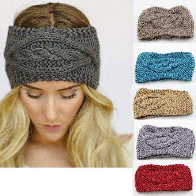 Ladies Womens Girls Knitted Eye Headband Crochet Hair Band Ski Hat