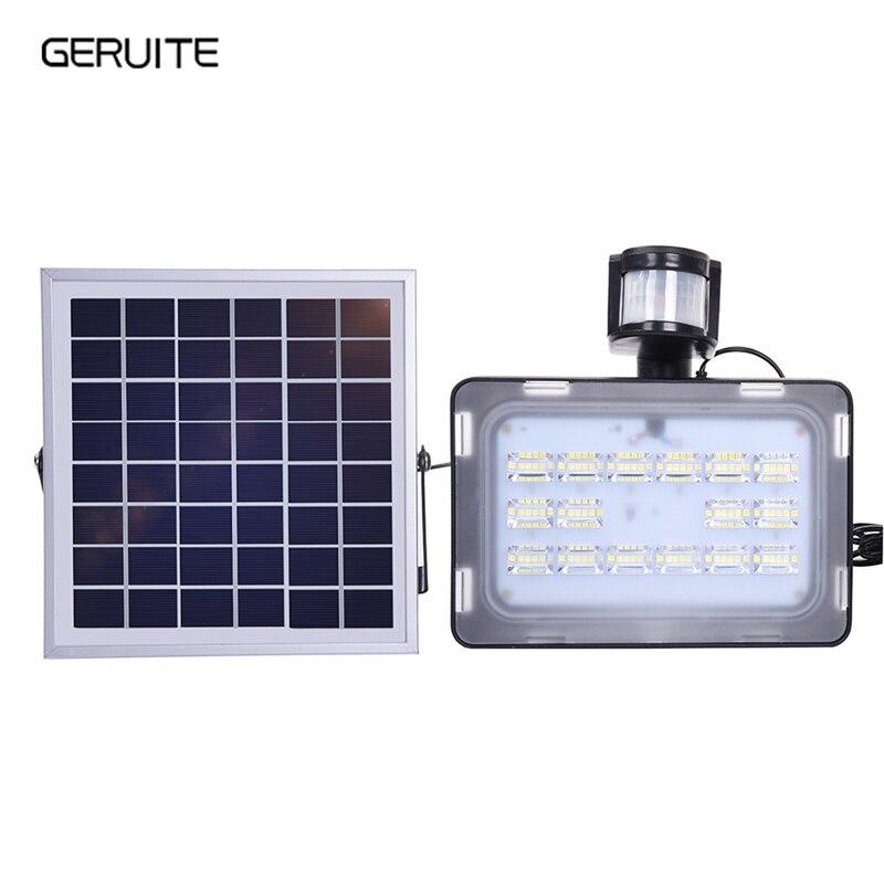 1 pièces 10/20/30/50 W 12 V LED lumière d'inondation PIR capteur de mouvement solaire Induction sens lampe solaire IP65 SMD2835 projecteur éclairage LED