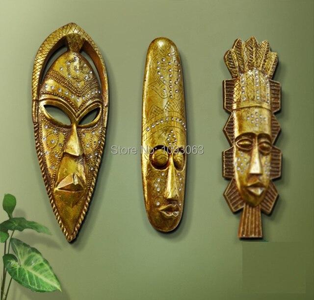 African Style Tribal Mask Wall Art Hanging Living Room Bar Home Decoration Resin Vintage Golden