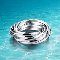 Phụ nữ 925 sterling silver ring; genuine rắn tinh khiết bạc đồ trang sức; multilayer thiết kế; Chấp Nhận Được bán buôn; Chín nhẫn