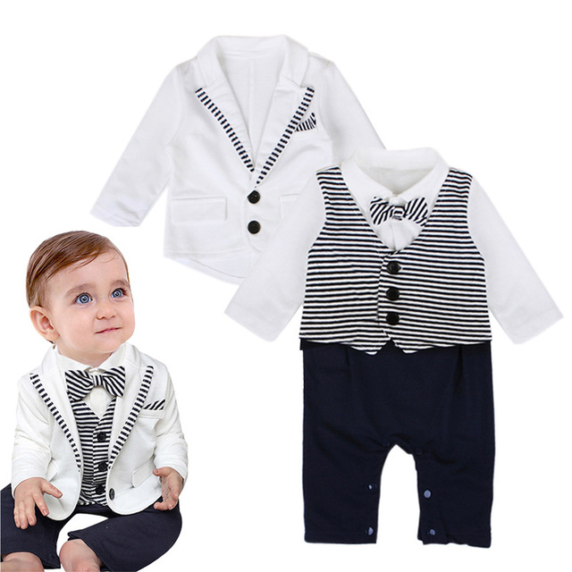05f01e9f19f Infant fashion gentleman style baby boy clothes Coat+Jumpsuit T-shirt  trouser Children clothing