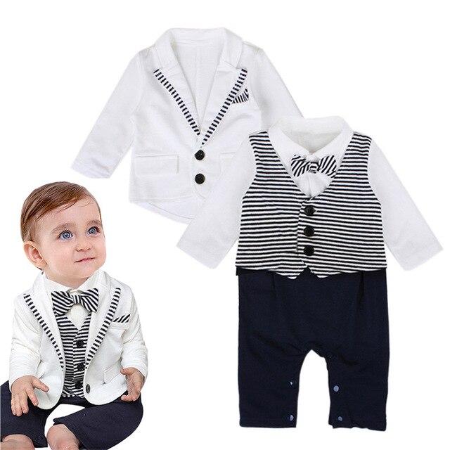 8ec6032f3dd60 Infantile de mode gentleman style bébé garçon vêtements Manteau + Salopette  T-shirt pantalon Enfants