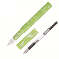 Wanwu Creative Colorful Celluloid Fountain Pen & Glass Dip Pen Grass Green EF/F/Small Bent Nib Ink Pen & Box Writing Gift Set