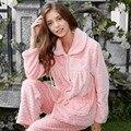 Outono E Inverno Espessamento Mulheres Mink Coral do Velo da Longo-luva Set Lounge Flanela Sleepwear Luxo Elegante