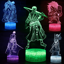 One Piece Lamp Remote Control Touch 3d Table Lamp Illusion USB Led Light Children Bedroom Decoration Night Light Kids Gifts недорого