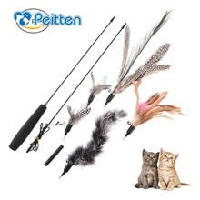 С 5 сменными головками мульти перо кошка Дразнилка для кошки игрушка для питомца забавная кошка перо палка с колокольчиком игрушка для кошек Летающая тренировка