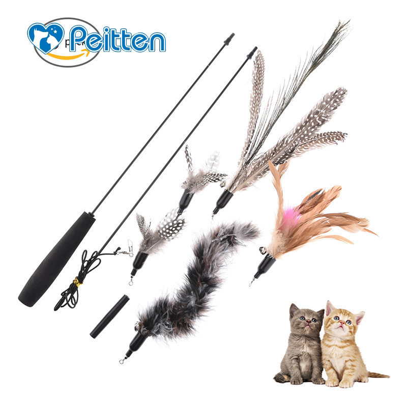 With 5 Replacement Heads Multi <font><b>Feather</b></font> <font><b>Cat</b></font> Teaser <font><b>Cat</b></font> <font><b>Toy</b></font> Pet <font><b>Toy</b></font> Funny <font><b>Cat</b></font> <font><b>Feather</b></font> <font><b>Stick</b></font> With A Bell <font><b>Cats</b></font> <font><b>Toy</b></font> Flying Training image