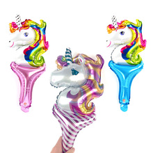 50pcs/lot hand-held unicorn party balloons for kids birthday globos animal rainbow horse balloon stick cheering ballons toys