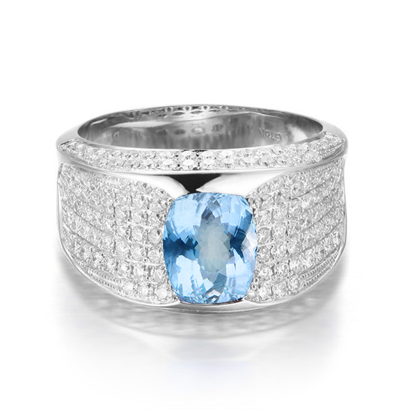 QYI Sky blue Topaz Engagement Ring Genuine 925 Sterling Silver Male and female general ring Wholesale Jewelry colorful gems