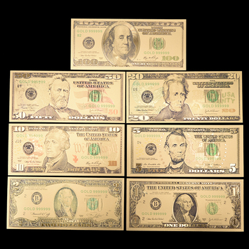 7pcs/lot US Gold Foil Banknote America Fake Banknotes All Dollar Banknotes Paper Money Collection for Home Decoration Gift