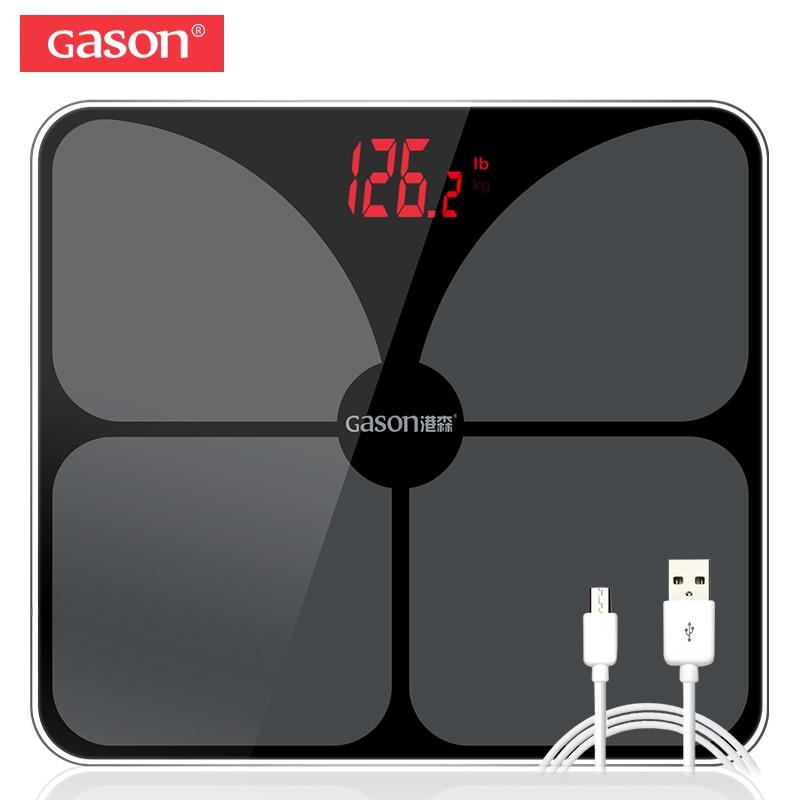 GASON A3s USB De Charge Salle De Bains Corps Smart Scale Électronique Précis Numérique Poids Étage Accueil Balance Verre LED Affichage 180 kg