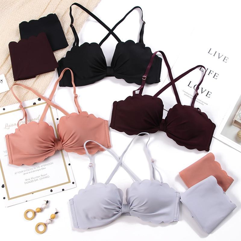 Fashion Cotton Sexy Bra Set Seamless Push Up Bra Underwear Suit Adjustable 3/4 Cup gather breast bra briefs set deep v bra Sets