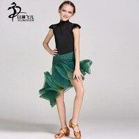Kids Latin Dance Skirts Girls Ballroom Competition Standard Dance Dresses High Collar Cap Sleeve Ballroom Waltz