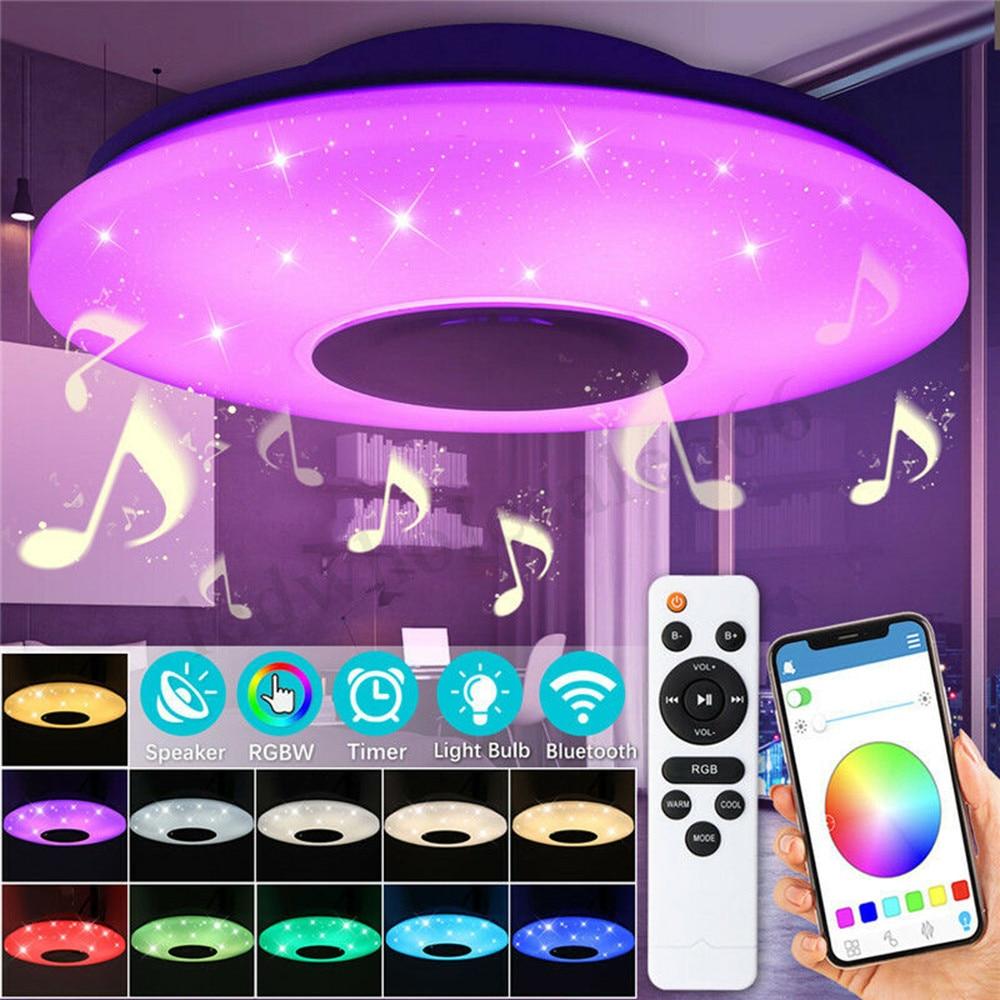 Moderna lâmpada led rgb luz regulável 36 w 60 app controle remoto bluetooth música moderna conduziu a luz de teto