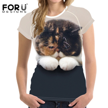 FORUDESIGNS Kawaii Women T shirt 2018 Casual Wear for Summer t Harajuku Cat Printing Vetement Femme Plus Size XXL