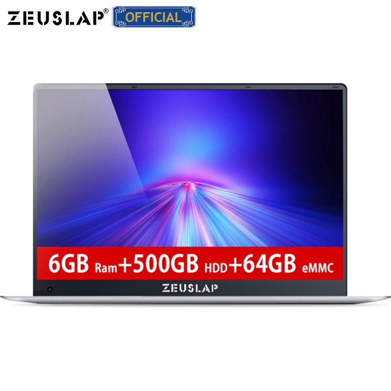 ZEUSLAP-X5 6GB RAM 500GB HDD 64GB EMMC Intel Apollo Quad Core CPU 1920X1080P FHD IPS Screen 15.6inch Laptop Notebook Computer