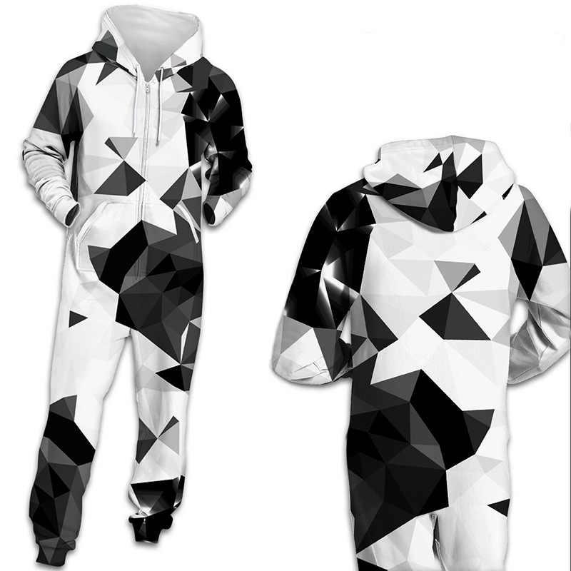 Centuryestar с капюшоном Onesie взрослых Для мужчин Pijama Hombre комбинезон Для мужчин s пижамы зимняя Пижама на молнии черный, белый цвет Для мужчин одежда Пижама