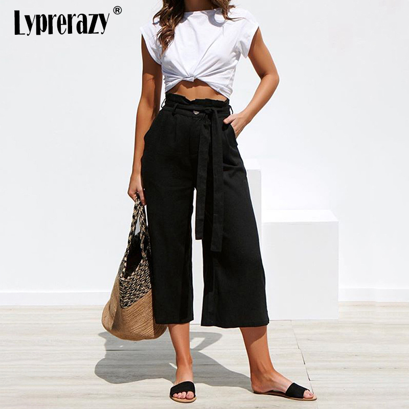 Lyprerazy Women Lace up   Wide     Leg     Pants   Bandage Loose Drawstring Casual Pockets Female Trousers Summer Hipster Harem   Pants