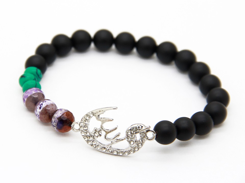 Ailatu Nice Beaded Jewelry for Men and Women Gift Matte Glass & Dzi Stone Beads Islamic Muslim Bracelet
