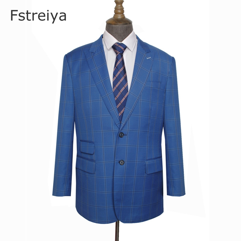 Custom made mens clothing customized men slim fit suit Made high quality worsted wool blue Plaid Men Suit for wedding