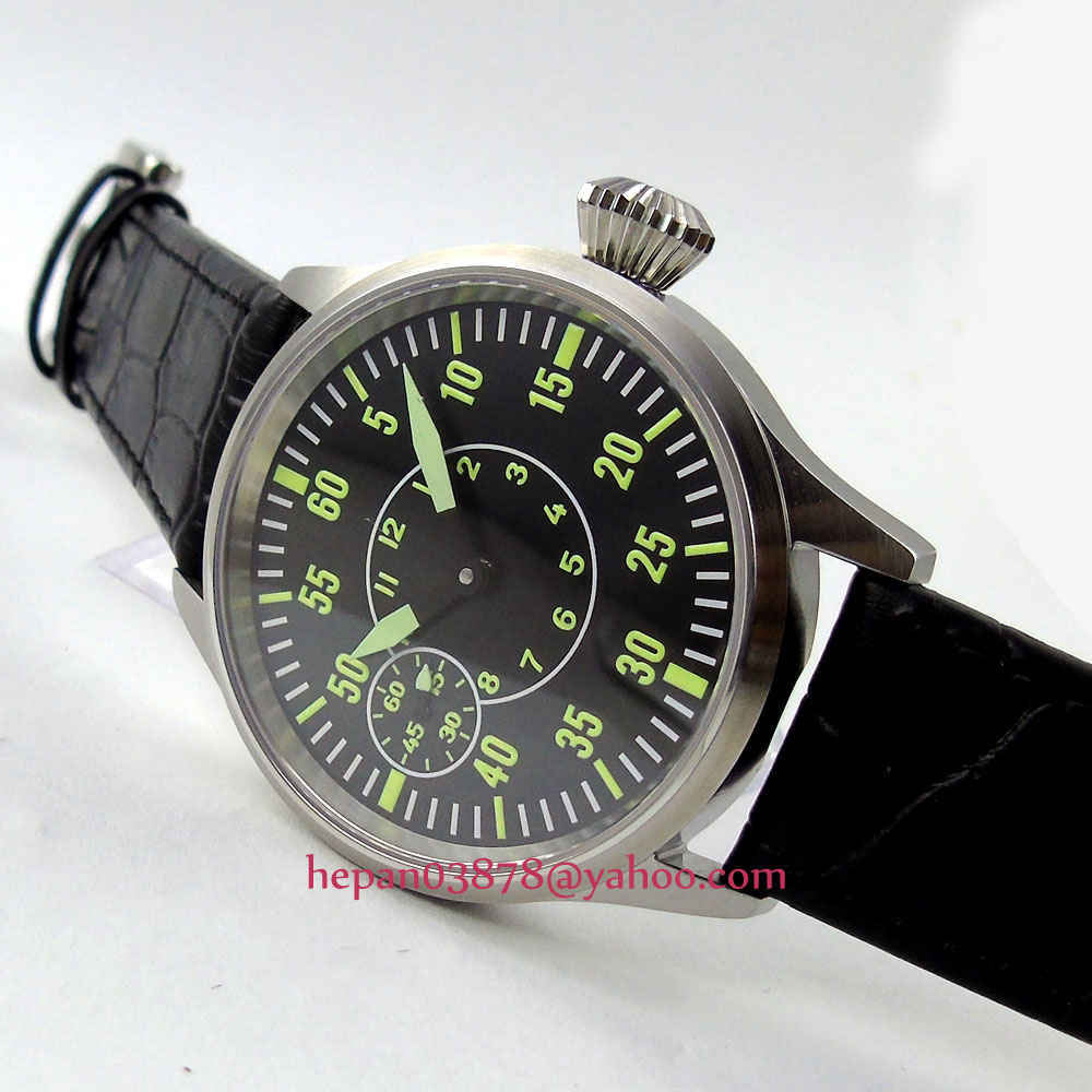44mm black dial green number sterile 17 jewels hand winding mechanical 6497 movement corgeut men's watch P141 44mm black sterile dial green marks relojes 6497 mens mechanical hand winding watch luminous armbanduhr cm164bk
