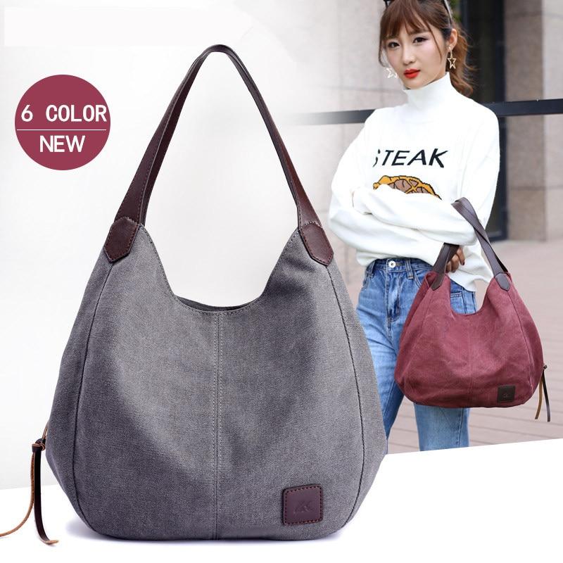 Vintage Female Hobos Single Shoulder Bags Retro bolsa feminina bolsos Canvas Bag Women Handbags Solid Multi-pocket Ladies Totes
