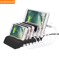 Multi Quick USB Charger Dock Station Stand 6 Ports Desktop Charging Station 2.4A/1A Power Adapter For iPhone iPad Android Phones